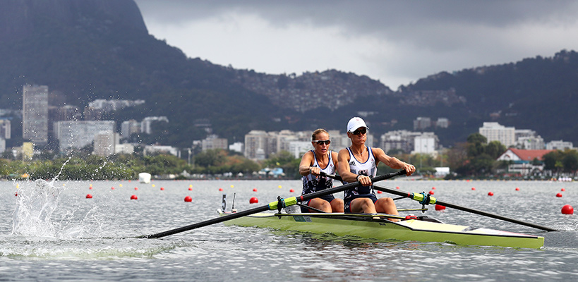 Helen Glover, left, and Heather Stanning of Great Britain